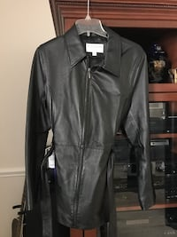 Sonoma Black leather zip up and tie jacket Size Medium