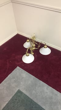 Gold-colored 3-light chandelier