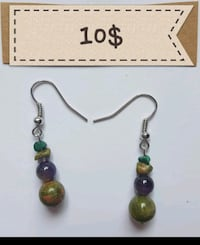 UNAKITE, AMETHYST, MALACHITE EARRINGS 10$ Ottawa, K1G