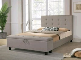 Brand New Queen Size Light Grey Storage Bed