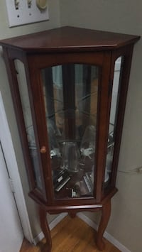 brown wooden framed glass display cabinet Medford, 11763