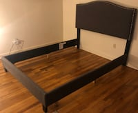 Upholstered Panel Bed with headboard for Queen-size bed (charcoal with brass tacks) Washington