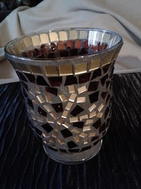 """4 3/4"""" H x 4"""" Diam. Brown and Gold Mosaic Candle Holder Hamilton"""