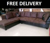 brown fabric sectional sofa with text overlay Austin