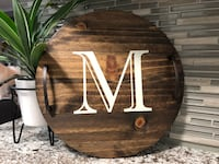 Personalized Initial Round Wooden Tray With Handles Essa
