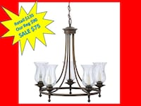 Hampton Bay Grace 5-Light Rubbed-Bronze Chandelier with Seeded Glass Shades BRAND NEW!! Plantation