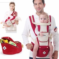 Baby's white and red carrier