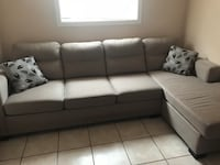 white leather sectional sofa with throw pillows Vaughan, L6A 3A5