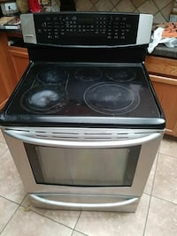 black and silver induction range