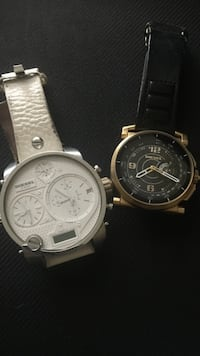 Two round silver chronograph watches with black leather straps Los Angeles, 90019