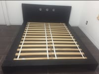 Queen size low bed frame with dresser. (Dark chocolate real wood)  Miramar, 33023