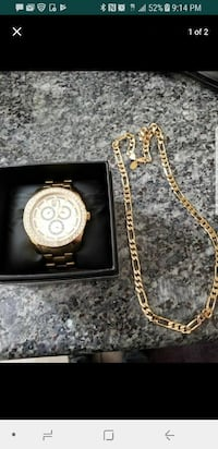 gold analog watch with gold plated  chain