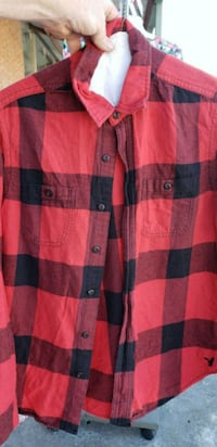 red and black plaid button-up shirt Locust Grove, 30248