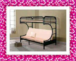 Twin over futon bunkbed  frame with mattress