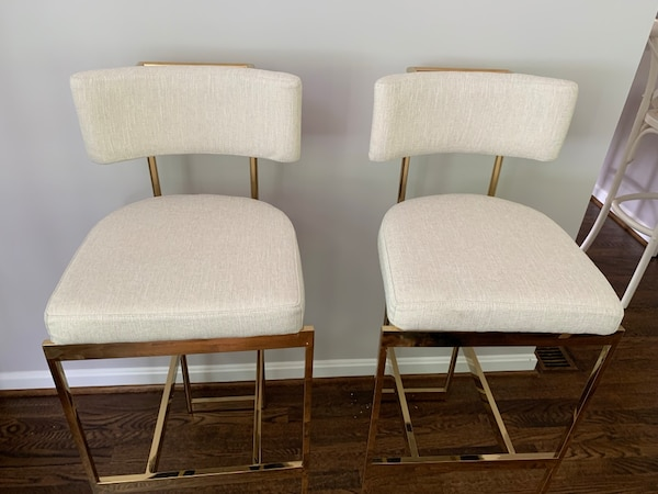 Two bar chairs cream linen and brushed gold frame 91d893cf-74fb-47f9-9d15-9af5802a813f