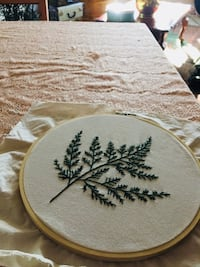 Hoop Hand embroidery- Fern Abbotsford, V2T