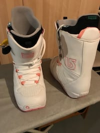 Pair of white-and-pink snowboard boots