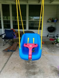baby's blue and red swing chair Pearland, 77584