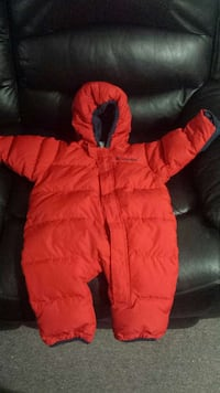 toddler's red bubble pram suit