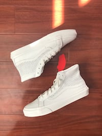 Like New White Perforated Hi Top Vans Sz 8.5 M // 10 W