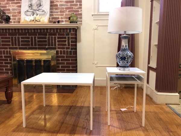 IKEA NYBODA Coffee Table and Side Table along with the lamp