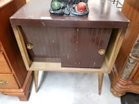 vintage side, accent, vinyl records storage table
