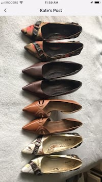 three pairs of brown leather pointed-toe pumps