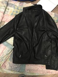 Large black leather zip-up jacket Kennith Cole  Calgary