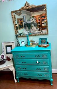 Free Spirit Solid Wood turquoise/ teal green carved accent bohemian dresser