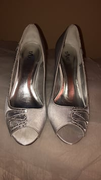 Pair of silver satin shoes with rhinestones perfect for prom and wedding  Laval, H7G 4W8