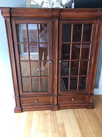 brown wooden glass display cabinet London, N6K 1E3