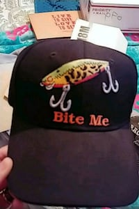"Black fishing cap.""BITE ME"" Tulare, 93274"