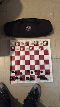 white, red, and black chess board New York, 11220