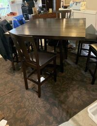 "Bar style dark wood 50""x50"" table,6 matching chairs-Delivery available Tualatin, 97062"
