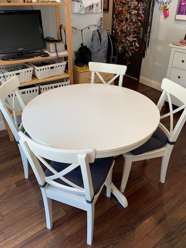 new arrival eb90e bb042 IKEA INGATORP White Table w/ 4 Chairs