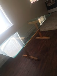 GLASS TABLE WITH WOOD BOTTOM New Haven, 06511