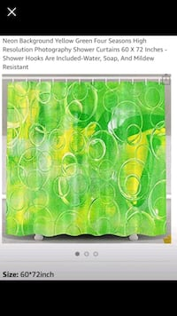 Neon green and yellow shower curtain. Stafford, 22554