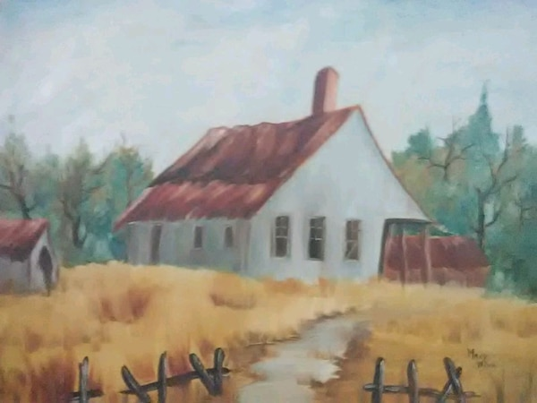 brown wooden framed painting of house 27a5ab42-caa1-402a-8096-911dbb7b1032