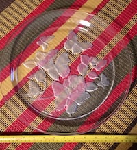 Heavyweight  etched glass butterfly tray