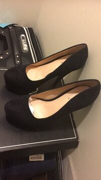 pair of black suede platform stilettos LANHAM