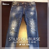 distressed vasket blå denim bukser