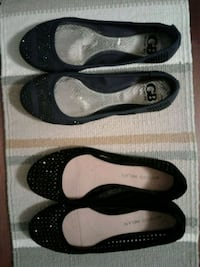 2 PAIR BEADED SLIPPERS, size 8.5 Manteca
