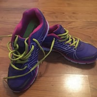 Pair of purple-and-yellow athletech running shoes. Great Condition. Size 7.5 M (like new!!) Holland, 49423