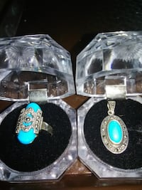 925 sterling silver Sleeping beauty turquoise ring(sz 9) & pendant
