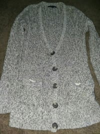 gray and black button-up cardigan Springfield, 45503
