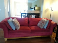 8ft Red suede 3-seat sofa Dunn Loring, 22027