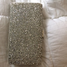 women's silver  glittered shoulder bag