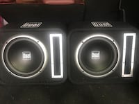 Black and gray dual subwoofer