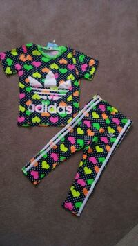multicolored Adidas heart-print crew-neck t-shirt and sweatpants Ottawa, K2G