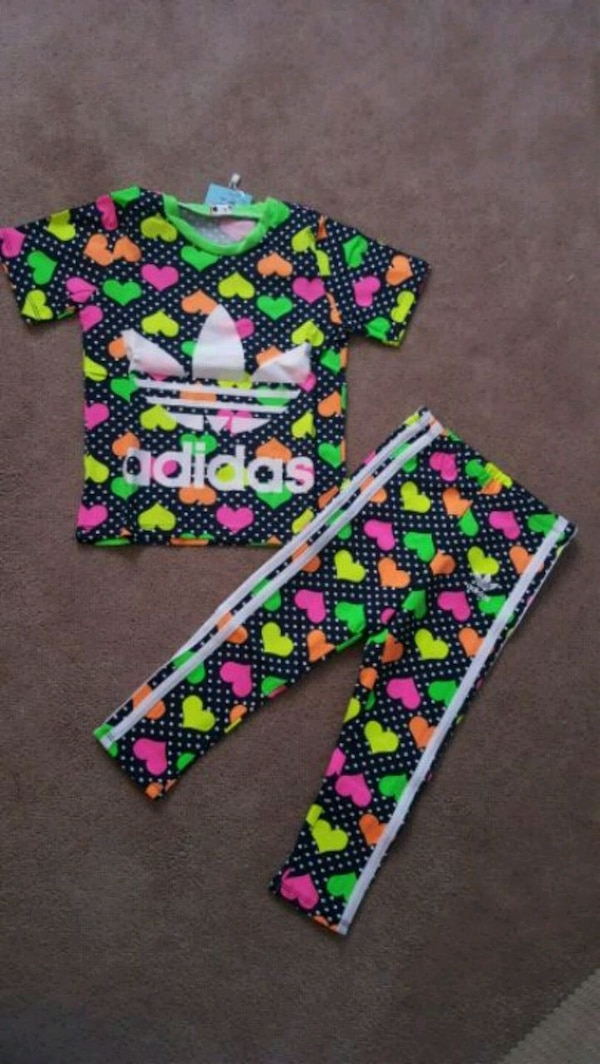 multicolored Adidas heart-print crew-neck t-shirt and sweatpants